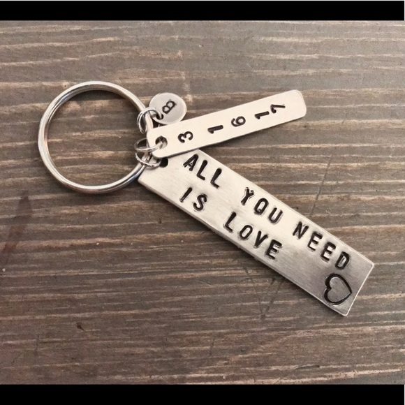 handmade Other - Hand stamped custom All You Need Is Love keychain